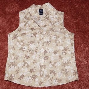 Tan, white and brown floral sleeveless shirt